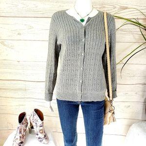 Eddie Bauer perfect cable knit cotton blend cardi